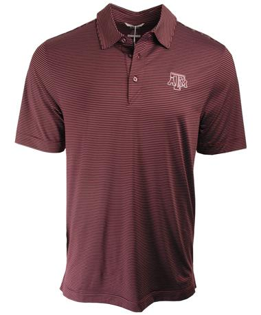 Cutter & Buck Texas A&M DryTec Prevail Stripe Polo Front Maroon
