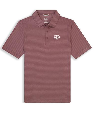 Texas A&M Cutter & Buck DryTec Cascade Melange Stripe Polo
