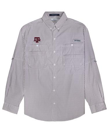 Texas A&M Columbia Super Tamiami Long Sleeve Button Down - Maroon Gingham - Front Maroon Gingham