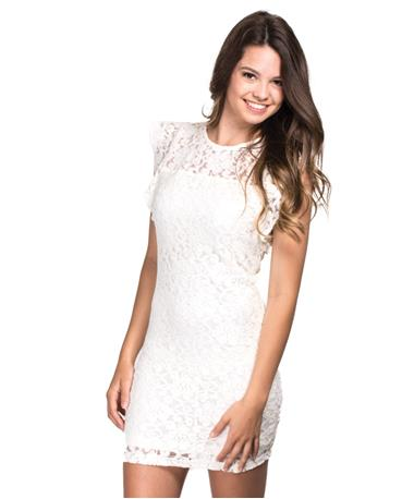 Monae Ivory Lace Dress - Front Ivory
