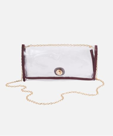 Clear Crossbody with Gold Chain - Maroon Maroon