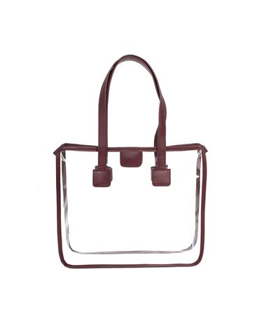 Maroon Leather Strap Clear Tote Maroon