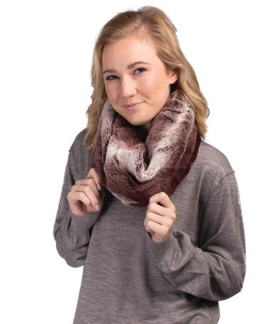 Fur Infinity Scarf Maroon Ombre
