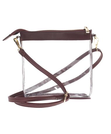 Maroon Leather Clear Crossbody Maroon