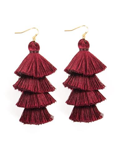 4 Tiered Maroon Tassel Earrings Maroon