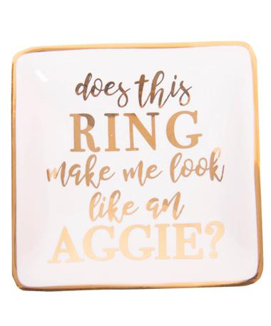 Square Gold Aggie Ring Dish White/Gold