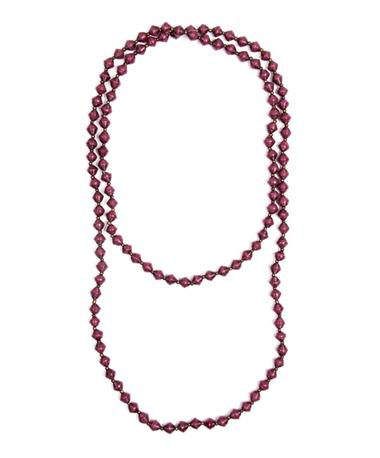 Adera Long Paper Bead NecklaceAdera Long Paper Bead Necklace - Maroon Maroon
