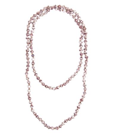 Adera Long Paper Bead Necklace - Maroon/White Maroon/White
