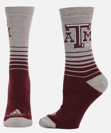 Texas A&M Grey Top Maroon Crew Socks Maroon/Grey