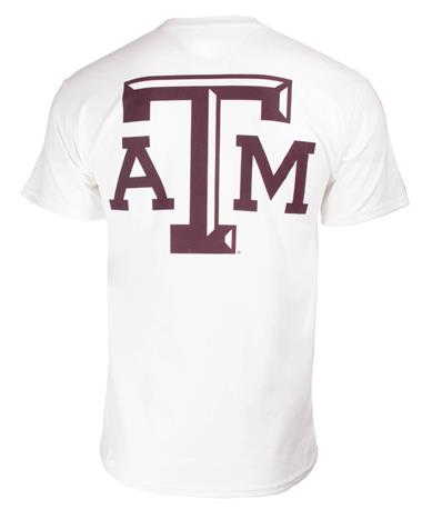 Texas A&M Aggie Classic Arched T-Shirt White Back New White