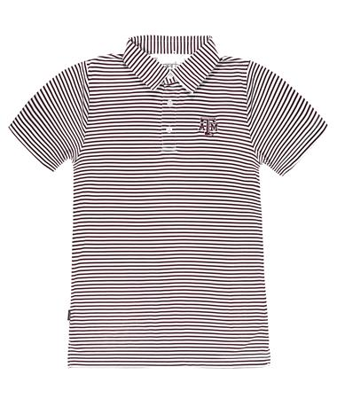 Texas A&M Garb Youth Carson Striped Polo - Front Maroon/White