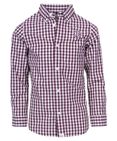 Garb Texas A&M Youth Logan Button Down Gingham Maroon/White