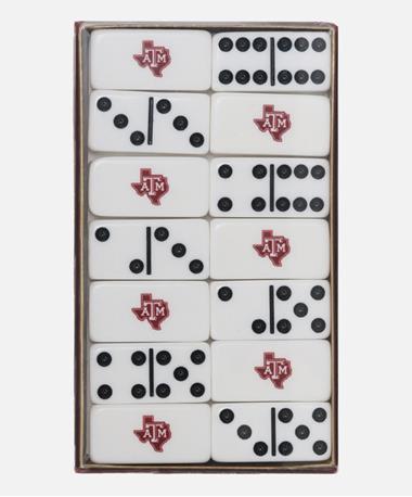 Texas A&M Aggie Lone Star Domino Set White