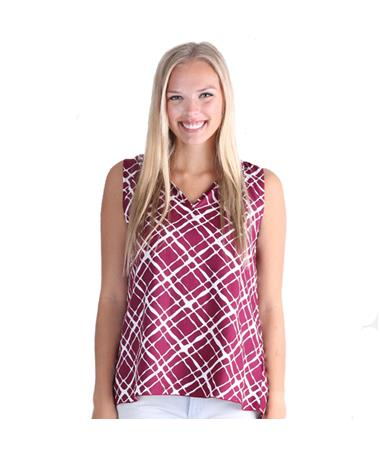 Maroon Escapada Plaid Sleeveless Kate Top - Front Maroon/White Plaid