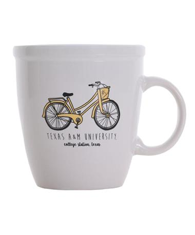 Texas A&M Aggie Yellow Bicycle Coffee Mug White