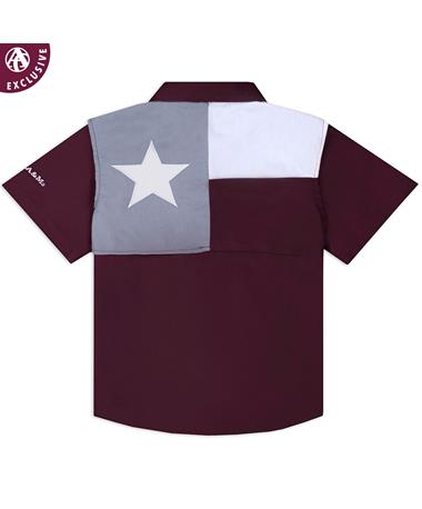 Texas A&M Aggie Toddler Flag Fishing Shirt - Back Maroon