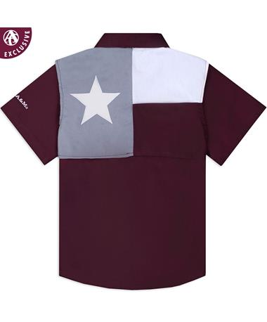 Texas A&M Aggie Youth Flag Fishing Shirt - Back Maroon
