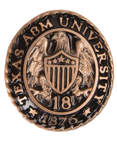 Texas A&M Aggie Ring Crest Paperweight `18 Brass