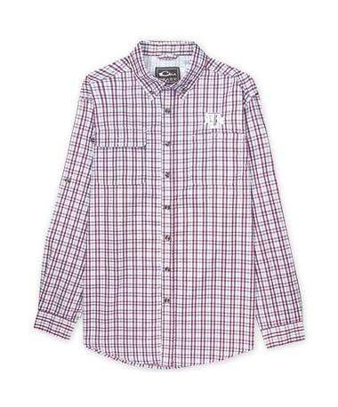 Texas A&M Drake Long Sleeve Plaid Wingshooter Button Down Shirt - Maroon/White - Front Maroon/White