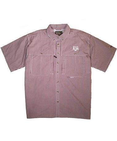 Drake Texas A&M Wingshooter Short Sleeve Button Down Shirt - Maroon/White Gingham - Lay Flat Maroon/White Gingham