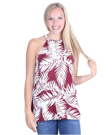 Escapada Pasha Sleeveless Top - Maroon/White - Front Maroon/White