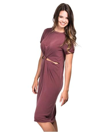 The Elise Dress - Burgundy - Side BURGUNDY