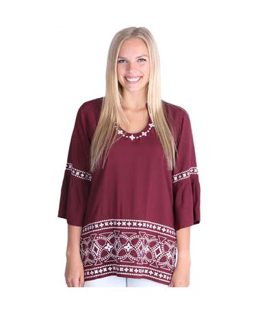 Maroon Escapada Three Quarter Sleeve Finn Top - Front Maroon/White