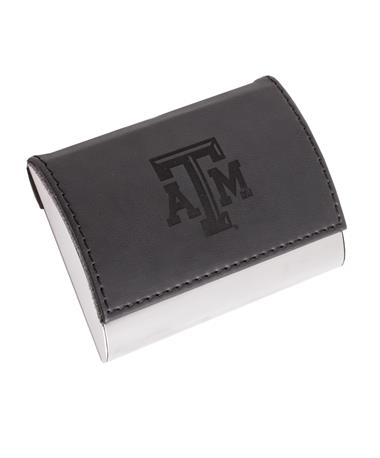 Texas A&M Leather Business Card Holder Black