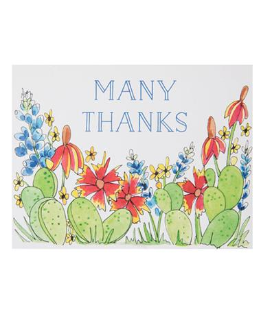 Many Thanks Single Note Card - Cactus Floral Cactus Floral