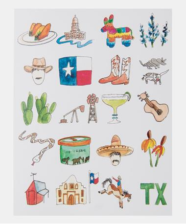 Single Note Card - Texas Collage Texas Collage