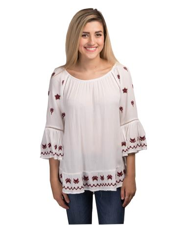 Long Sleeve Embroidered Ladies Blouse Maroon/White