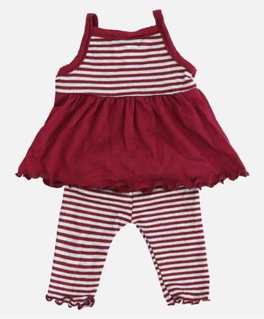 Doll Stripe and Capri Set Maroon Stripe