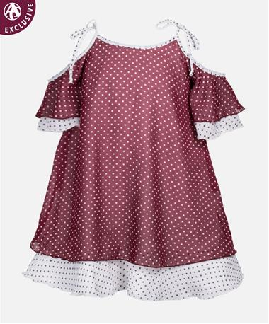 Maroon & White Dotted Youth Dress Maroon/White