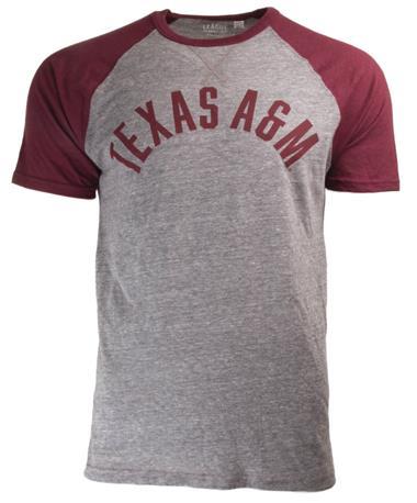 League Texas A&M Varsity Falls Short Sleeve Baseball Tee Front Grey/Maroon
