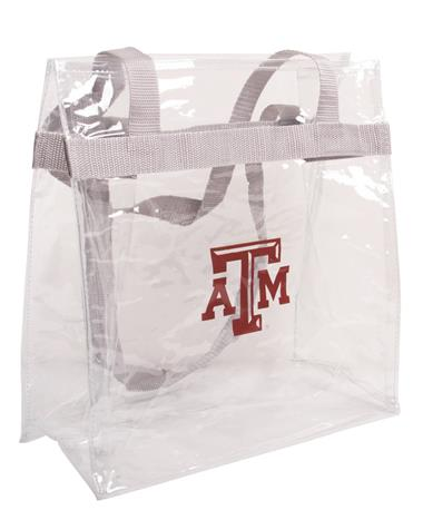 Texas A&M Clear Plastic Tote with Grey Strap Clear