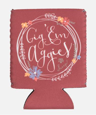 Texas A&M Aggie Kolder Kaddy Can Holder Floral Circle Floral Circle