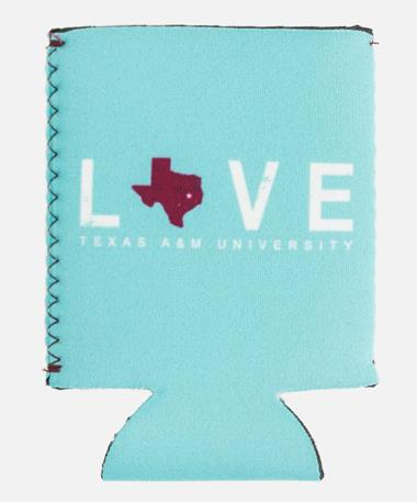 Texas A&M Aggie Kolder Kaddy Can Holder Love Turquoise Love Turquoise