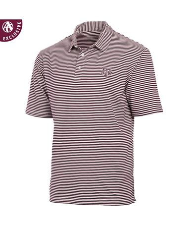 Texas A&M Aggies Tiny Stripe Men`s Polo - Front Maroon/White