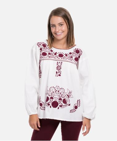 Nativa Long Sleeve Floral Embroidered Blouse - Maroon/White - Front Maroon/White