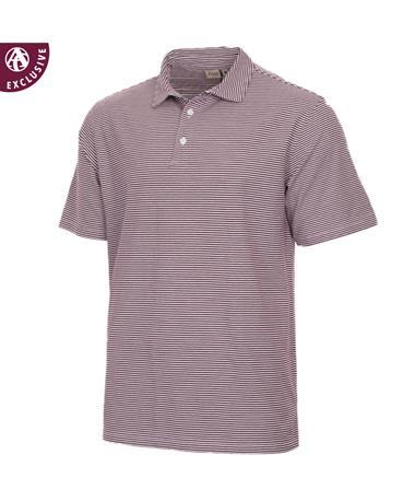 Mens Maroon  & White Stripe Polo Maroon/White
