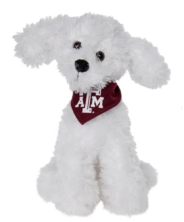 Texas A&M Aggie Mighty Tykes Stuffed Toy - Bichon Frise - Front - Head Tilted Bichon Frise
