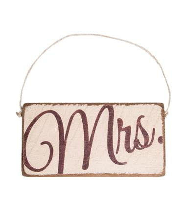 Maroon Mrs. Rustic Mini Plank Sign Wood