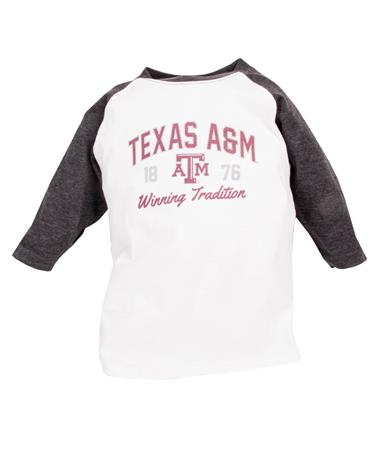 Texas A&M Toddler Home Run Raglan White/Black Heather