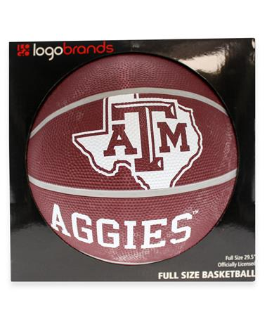 Texas A&M Full Size Rubber Basketball - Front Maroon