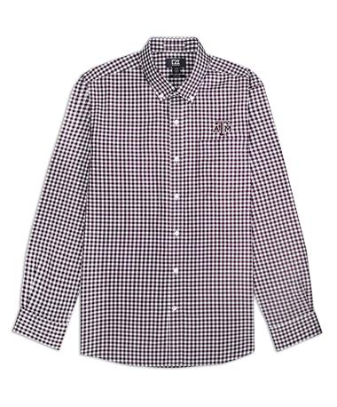 Texas A&M Cutter & Buck Long Sleeve Gingham Button Down