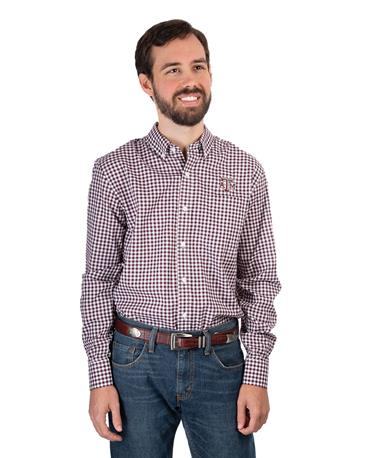 Cutter & Buck Texas A&M Long Sleeve Gingham Button Down - Front Maroon/White