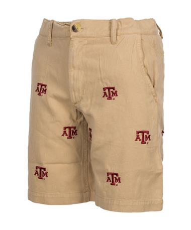 Wes & Willy Texas A&M Junior Embroidered Twill Short Khaki