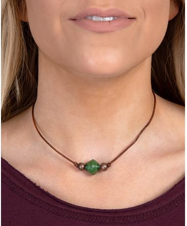 Adera Leather Necklace - Model Green