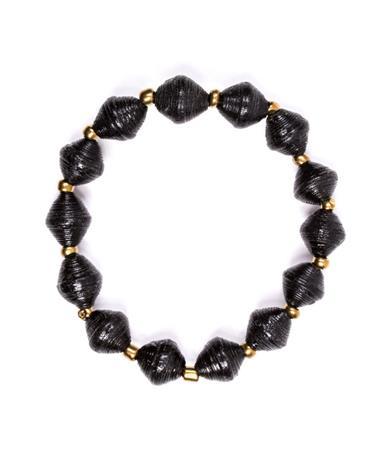 Adera Paper Bead Bracelet - Black Black