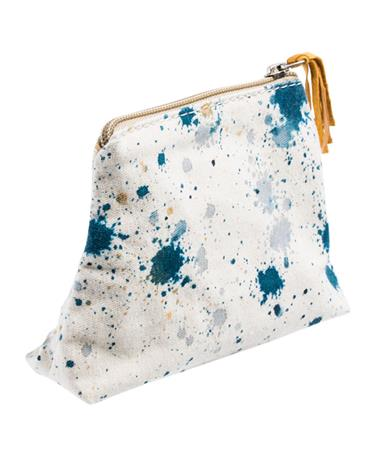 Adera Splattered Makeup Bag Teal